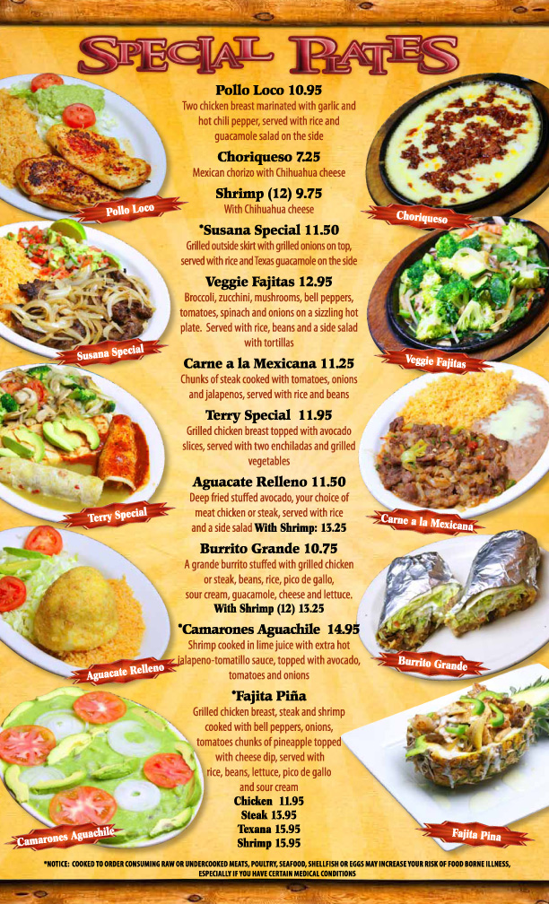 Bravos Mexican Food Menu